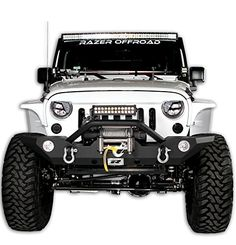 Razer Auto Black Textured Rock Crawler Front Bumper with OE Fog Light Hole, D-Ring and Built-In Winch Mount Plate for Jeep Wrangler JK Jeep Wrangler Front Bumper, Jeep Wrangler Parts, 2008 Jeep Wrangler, Jeep Parts, Jeep Rubicon, Jeep Jk, White Jeep, Black Jeep, Jeep Wrangler Accessories