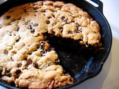 Cast iron skillet cookies. Hands-down the best way to make chocolate chip cookies.