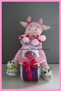 Moto gâteau de couches fille rose cadeau naissance baptême bébé : Décoration pour enfants par les-choupinous