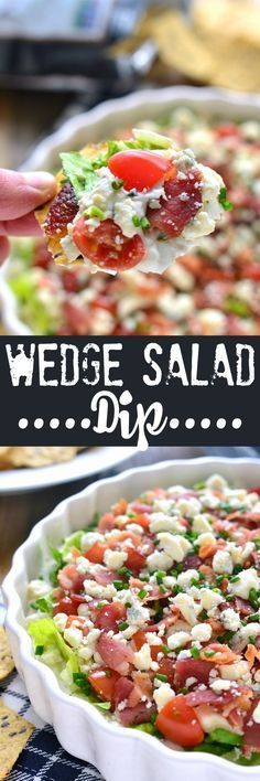 Wedge Salad Dip has all the flavors of a wedge salad in a delicious dip that's p. Wedge Salad Dip has all the flav. Appetizer Dips, Yummy Appetizers, Appetizer Recipes, Salad Recipes, Camping Appetizers, Wedge Salad, Tailgate Food, Tailgating, Cooking Recipes