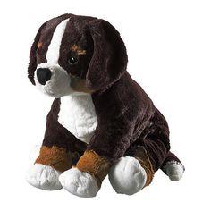 HOPPIG Soft toy, dog black, white) Ikea…