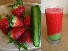 Skvělý je i zázvor. Smoothie Detox, Smoothies, Strawberry, Health Fitness, Food And Drink, Stuffed Peppers, Fruit, Vegetables, Drinks
