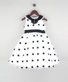 White & Black Polka Dot Organza A-Line Dress//