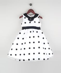 White & Black Polka Dot Organza A-Line Dress//