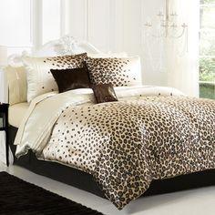 Snow Leopard Print Animal Print 6 Piece Comforter Set