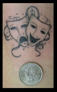 Small Theatre Masks by Nikolaos-Mariana on DeviantArt Quote Tattoos Girls, Small Girl Tattoos, Small Wrist Tattoos, Tattoo Small, Tattoo Girls, Time Tattoos, Body Art Tattoos, Tatoos, Theater Mask Tattoo