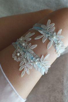 ivory blue lace wedding garter set  floral garter, Wedding Garter, garters, ivory lace Garter, Free Ship