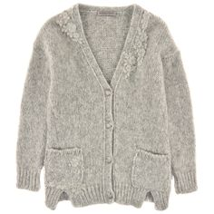 Ermanno Scervino Junior Pastel grey wool and alpaca blend cardigan Grey - 99322   Melijoe.com