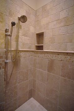 Travertine Tile Shower Designs | Travertine Shower, Travertine Rope Design    Cave Creek, AZ.