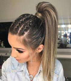 Braided Ponytail Hairstyles, Box Braids Hairstyles, Cool Hairstyles, Hairstyle Ideas, Hair Ponytail, Ponytail With Braid, Simple Hairstyles For Long Hair, Braid Hairband, Easy Homecoming Hairstyles