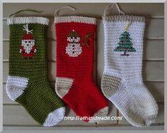 Virka julstrumpor. Efter engelskt virkmönster som är gratis! Virka på!