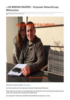 Oblog marcommendes com as minhas razões empower networklazy millionaires  http://oblog.marcommendes.com/as-minhas-razoes-empower-net…/ As minhas razões por ter entrado para Empower Network/Lazy Millionaires. http://marcommendes.com/info/vida-nova?ad=blogmrazoesissuu