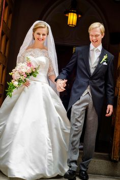 Washington, DC – the wedding of Archduke Imre of Austria and Kathleen Walker. Archduke Imre is the son of Archduke Carl Christian of Austria and Archduchess Marie-Astrid of Austria (née Princess of Luxembourg). The couple married on September 8, 2012 at St. Mary Mother of God Church in Washington, DC. Kathleen wore a white satin dress with pleated bodice, lace neckline and sleeves. She wore an antique lace Habsburg veil from her groom's family.