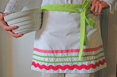 Love the way different size ric rac was used on this apron.  Check out my website for a variety of colors and sizes of ric rac.  www.allstitchedupbyangela.com