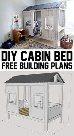 How adorable is this? DIY cabin bed - with free plans! How adorable is this? DIY cabin bed - with free plans! How adorable is this? DIY cabin bed - with free plans! Cabine Diy, Diy Cabin Bed, Big Girl Rooms, Boy Rooms, Bed Plans, Kid Beds, Kids Beds Diy, Kids Beds For Boys, Cabin Beds For Kids