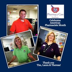 October is American Pharmacists Month! Thank you, Tim, Laura & Theresa! Pharmacists, Pharmacy, Tennessee, October, American, Celebrities, Celebs, Apothecary, Foreign Celebrities