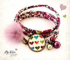 Bracelet ruban Liberty Cabochon • Petits Coeurs • pompon fourrure fleurs vintage