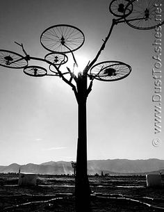 Burning Man 2008 Wheel tree welded metal art sculpture installation bicycle wheels photo