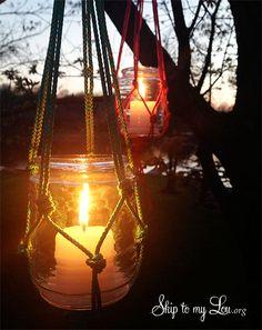 macrame hanging candle holder tutorial