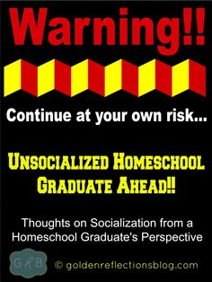 Thoughts on Socialization from a Homeschool Graduate and now Homeschooling Mom.   goldenreflections... #homeschool #ihsnet
