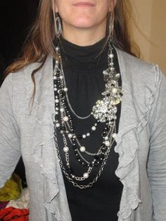 Fashion Sense layered with Silver Ice and Savvy necklaces with Ruffles, Pearl's Night Out and Camille pins.