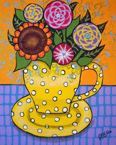 Fancy Yellow Cup of Flowers Whimsical Floral Bouquet in a Bright Mug with Dots Art Print Multiple Sizes Available Folk Artist Julie Ellison by JEllisonArt on Etsy https://www.etsy.com/listing/222891795/fancy-yellow-cup-of-flowers-whimsical