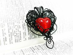 Gothic Heart Wire Wrapped Pendant
