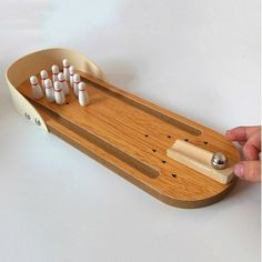 Mini Bowling Board Games Wooden Children Educational Innovation Solid Wooden Toys Parent-child Play Ball - Burlywood