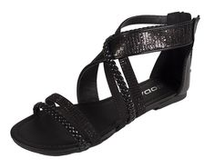 Lustacious Women's Open Toe Braided Strappy Flat Sandal with Glitter Décor ** Be sure to check out this awesome product.