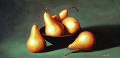 The original oil painting is available through my studio; Contact me to purchase or for more information.  FIVE GOLDEN PEARS WITH BOWL A still life oil painting of a pleasant arrangement of five golden pears. The original is for sale as are prints on canvas and paper.
