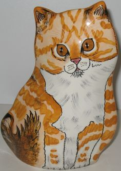GIFT IDEA FOR CAT LOVERS: Orange tabby cat vase by Cats by Nina Lyman. Listed on #ebay at $59.95 with FREE U.S. and Canadian shipping. #ninalyman #tabby