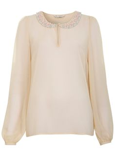 Embellished Collar Top - Shirts & Blouses - Tops - Apparel - Miss Selfridge US $26