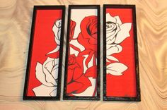 Modern miniature dollhouse tryptic painting 1/12 Red by Amatheria, €17.00