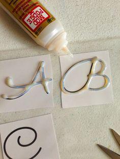 Temporary glass monograms using Dimensional Magic - Mod Podge Rocks