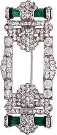 Art Deco Diamond, Jadeite Jade, Onyx, Platinum Brooch, Cartier