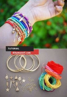 cute and easy way to create a DIY bangle bracelet! Summer Bracelets, Colorful Bracelets, Bangle Bracelets, Bangles, Diy Bracelet, Cute Jewelry, Jewelry Crafts, Jewelry Ideas, Do It Yourself Projects