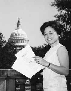 Patsy Takemoto Mink was the first woman of color elected to the United States House of Representatives. She fought for civil rights and the rights of women – most notably she was the author of the Title IX of the Education Amendments of 1972, which banned sex discrimination in schools. Something I don't think most people know about her is that she was the first Asian American (male or female) to seek the presidential nomination.