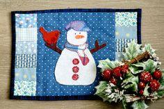 Christmas Snowman Mug Rug Hand by TheCottonShoppe, $19.00