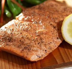 Salmon is brushed with butter and soy sauce, and sprinkled with lemon-pepper. So easy and quick, and so delicious!