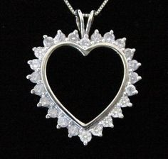 Diamond Heart Necklace Pendant 1 ct Total Genuine Diamond 10K White Gold by americanjewelryco, $425.00