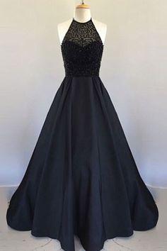 Halter Black Handmade Prom Dress,Long Prom Dresses,Prom Dresses,Evening Dress,