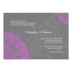 Charcoal Gray and Purple Damask Wedding Invitation
