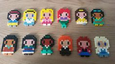 Perler Beads Disney Princesses. Snow White, Alice, Aurora, Ariel, Belle, Yasmin, Pocahontas, Mulan, Tiana, Merida, Anna, Elsa