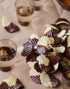 Sweet and salty chocolate covered potato chips