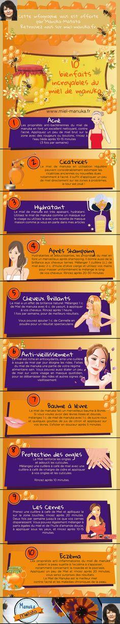 Infographie miel bienfaits acné