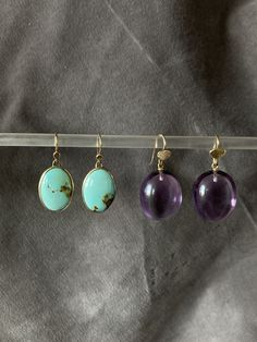 Turquoise and Amethyst earrings Amethyst Earrings, Pearl Earrings, Drop Earrings, Timeless Design, Personal Style, Turquoise, Amy, Leather, Handmade