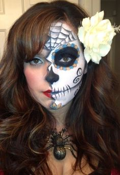 day+of+the+dead+face+painting | Day of the Dead Makeup Half Face PAINT | Day of the dead meets pin up ...
