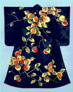 Formal kimono with design of autumnal red persimmons Paste-resist dyeing (Yuzen) and gold leaf imprint on dark blue silk crepe (chirimen), Created in 1936 by Tameji Ueno, holder of an 'Important Intangible Cultural Asset'. Ueno's avant-garde influences are reflected both in his choice of subject matter, as persimmons had not previously been used, and his use of techniques learned from his study of oil painting.