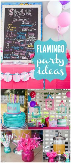 Check out this tropical party!  It has a pink flamingo theme! See more party planning ideas at CatchMyParty.com!