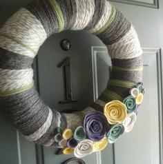 Yarn Wreath Felt Handmade Door Decoration - Cool Grey 12in. $45.00, via Etsy.